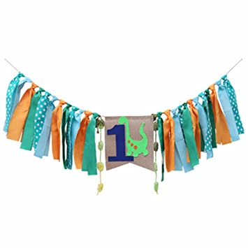 Image Unavailable Not Available For Color Dinosaur Highchair Banner Baby Boy 1st Birthday Party High Chair Bunting Garland Decoration