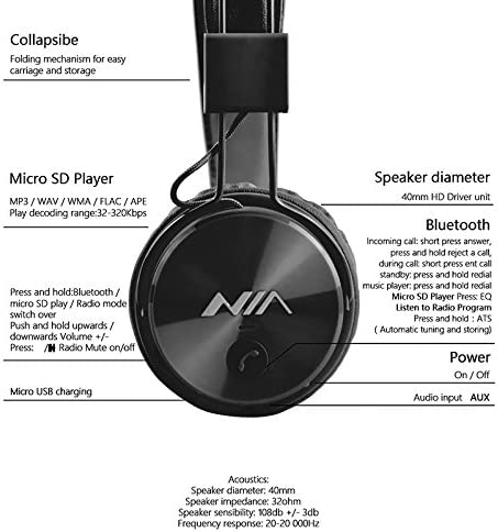 generico NIA X3 Bluetooth Headphones 40mm HD Drivers, FM  xM214