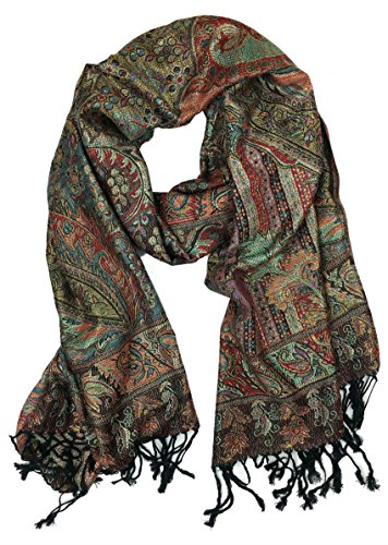 Plum Feathers Tapestry Ethnic Paisley Pattern Pashmina Scarf blk red metallic tapestry ()