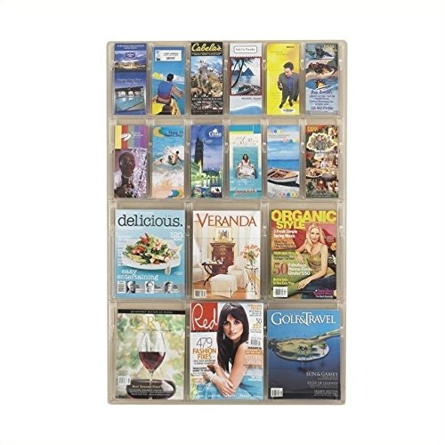 Safco Products Reveal 6 Magazine and 12 Pamphlet Display, 5600CL, Wall Mountable, Thermoformed Plastic Resin Construction, No Sharp Edges or Corners