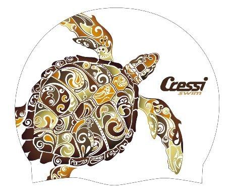 Cressi Fantasy Swim Cap, white w/ big turtle