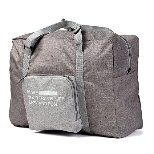 Lightweight Travel Tote Bag - Foldable Lightweight Nylon Duffel Luggage Bag Tote for Travel Gym 4 Colors (Grey)