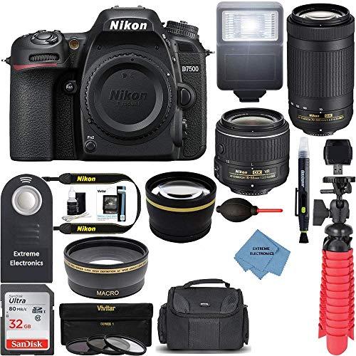 Nikon D7500 20.9MP DX-Format Digital SLR Camera with 18-55 VR & 70-300 AF-P VR Lens +Extreme Accessory Bundle