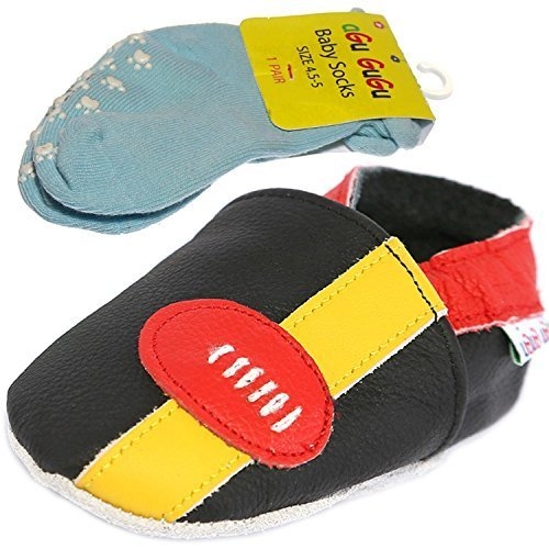 Price comparison product image American Football Ball 100% Real Leather Soft Sole Baby Shoes (6-12 Months, Black)