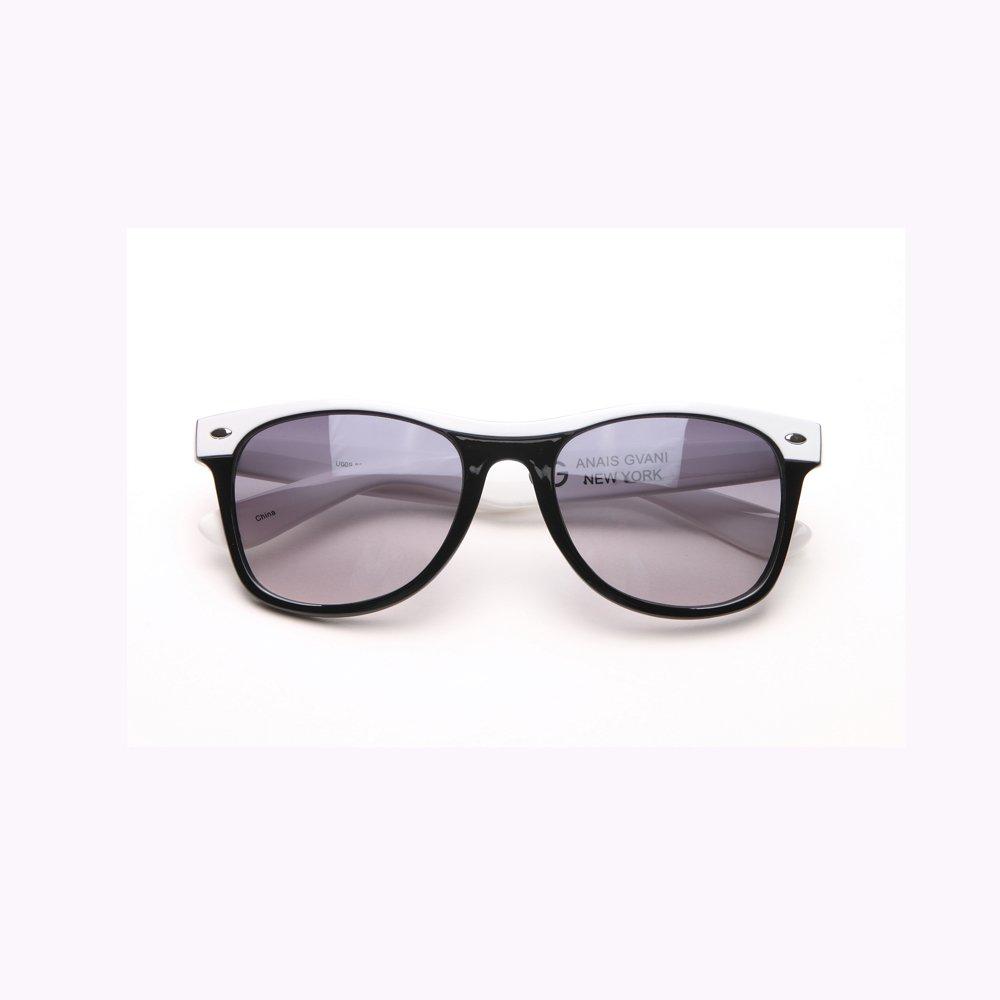 3463132acb Amazon.com  Anais Gvani Women s Classic Wayfarer Frame Sunglasses  -Black White  Clothing