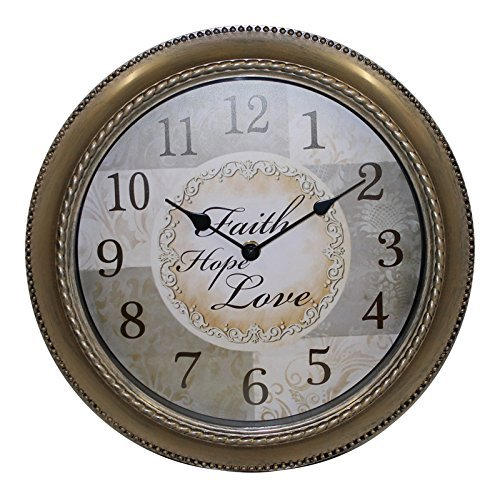 Mainstays 12 Inch Inspirational Clock- Faith, Hope , Love Message (Clocks Bronze Wall)