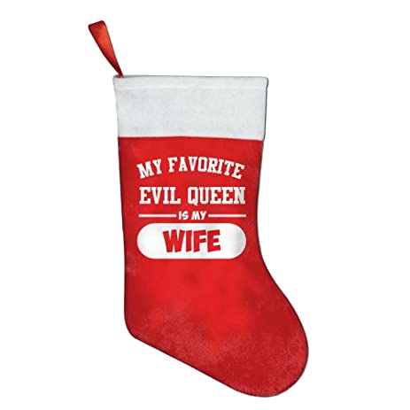 my favorite evil queen is my wife red felt christmas holiday stockings festival party ornaments