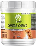 ZPAW Omega 3 Chews for Dogs Skin and Coat Supplements Dog Fatty Acid Treats Natural Omega from Fish Oil Salmon Oil and Krill Oil for Dogs and Cats 150 Treat Soft Chews