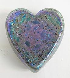 Leopard Glass Heart Paperweight
