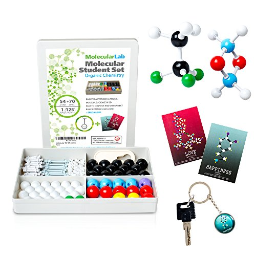 MolecularLab.Net Organic Chemistry Molecular Model Kit Student Set - (54 Atoms and 70 Links) - Includes Instruction Guide, Keychain Gift & Two Bookmarks with Molecule of Love OR Happiness MM-003