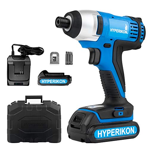 Cheap Hyperikon Compact Impact Driver 1/4 inch, 20V Li-ion Battery Impact Driver Cordless, 1.5Ah, 150Nm Torque Impact Driver Tool – Carrying Bag, Extra Battery and 120V Charger Included