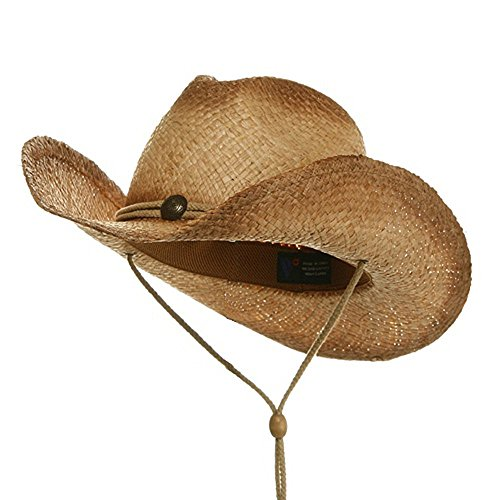 MG Tea Stain Raffia Straw Cowboy Hat (Natural)