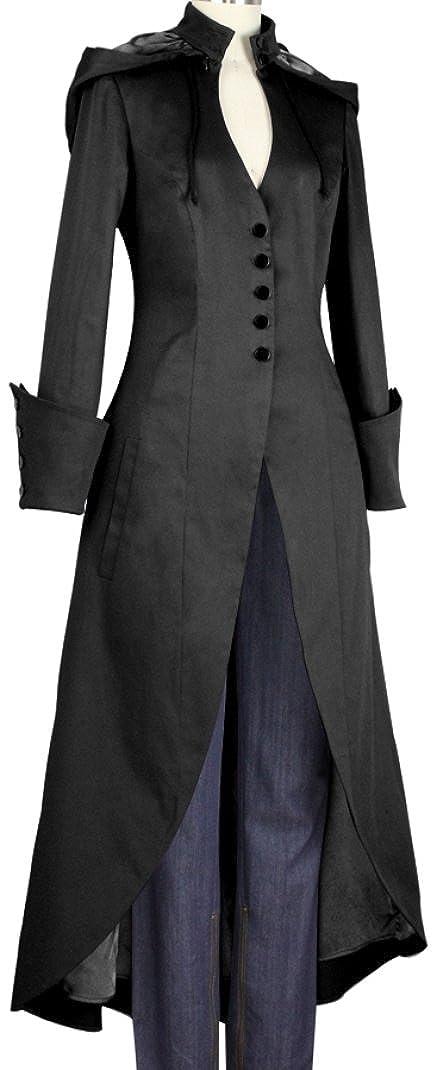 Amazon.com: (xs-28) de Vincent, color negro de largo Trench ...