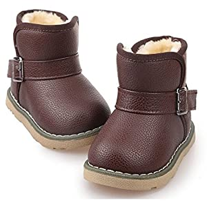 Kids Cute Buckle Thick Warm Winter Fur Boots