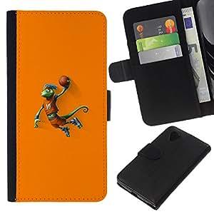 Baloncesto camaleón Lagarto - la tarjeta de Crédito Slots PU Funda de cuero Monedero caso cubierta de piel Para LG Nexus 5 D820 D821