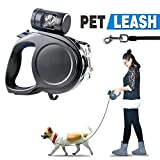 DiDaDi Automatic Retractable Dog Leash Extendable Traction Rope Pet Lead with Detachable Waste Bag Dispenser & Break Button with Lock for Puppy Pet Dog Cat Training Walking (16.4 ft, Black & Blue)