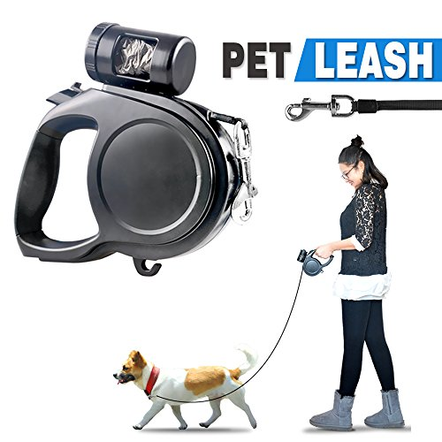 DiDaDi Automatic Retractable Dog Leash Extendable Traction Rope Pet Lead with Detachable Waste Bag Dispenser & Break Button with Lock for Puppy Pet Dog Cat Training Walking (16.4 ft, Black & Blue) by DiDaDi
