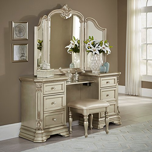 Antoinetta 3 Piece Vanity Make Up Table, Mirror and Bench Set in Champagne Gold Victorian (Mirror Victorian Wood)
