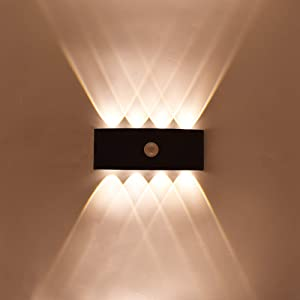 Human Sensor Modern Wall Sconce Lights 8W Light Pir Sensor Outdoor LED Wall Lights Up Down Sound Control Wall Lighting Lamps for Courtyards, Porch, Patio, Hallway, Garden Decoration (8W)