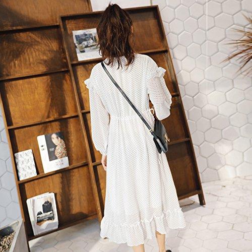 Fresca Chiffon Collar Chiffon Vestido Larga V Larga white Primavera Manga Cintura Vestido ZHUDJ Vestido De Delgada Manga Pequeña wqXERXP