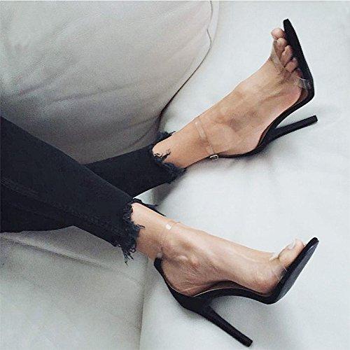 Ord Vivioo Høje Hæle Sandaler Med Højhælede Sandaler Sommer Gennemsigtig Tå Høje Hæle Sko Høj Hæl Sort 7,5 Cm