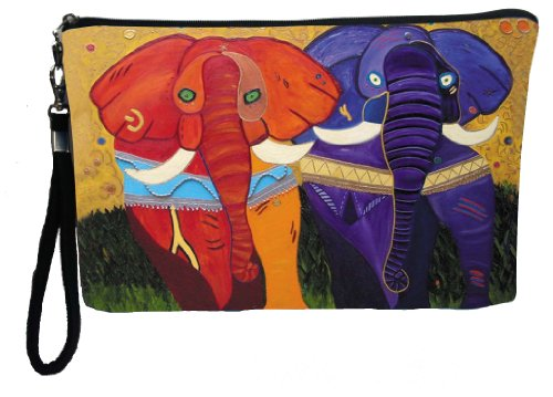 Elephant Large Wristlet - From My Original Painting, Support Wildlife Conservation, Read How (Print African Bag)