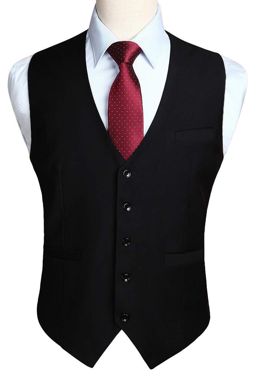 HISDERN Men's Suit Vest Business Formal Dress Waistcoat Vest with 3 Pockets for Suit or Tuxedo Black by HISDERN