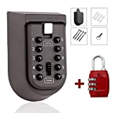 MIONI Key Safe Lock Box Outdoor Storage Box with Code Combination Password Security Lock Waterproof Wall Mount Push Button for Home Family Realtor 10-Digits +1ps Luggage Lock(1+1ps,red)