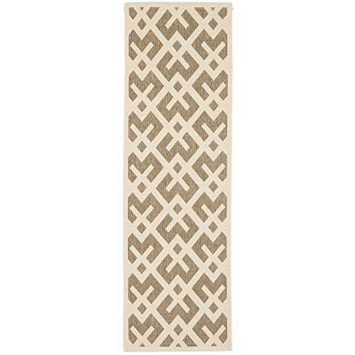 12x12 Bone (Safavieh Courtyard Collection CY6915-232 Brown and Bone Indoor/Outdoor Runner (2'4