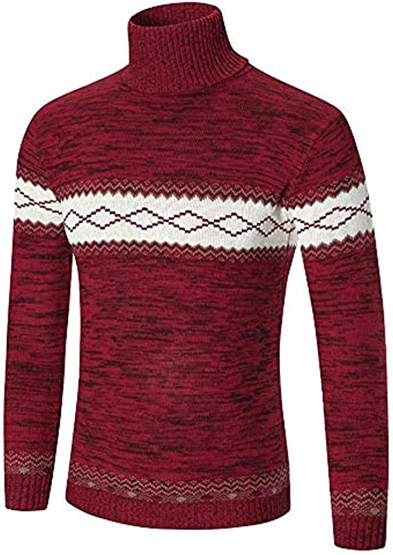 Męski wysoki kołnierz sweter dziergany Fit Slim jesień prosty styl zima Fashion gruby ciepły długi rękaw sweter dziergany: Odzież