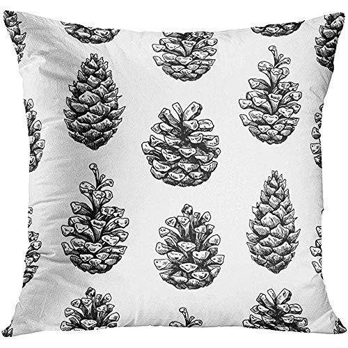 - Throw Pillow Cover Black Christmas Pine Cone Botanical Xmas Pinecones Engraved Forest Collection Great for Holiday White Decorative Pillow Case Home Decor Square 18x18 Inches Pillowcase