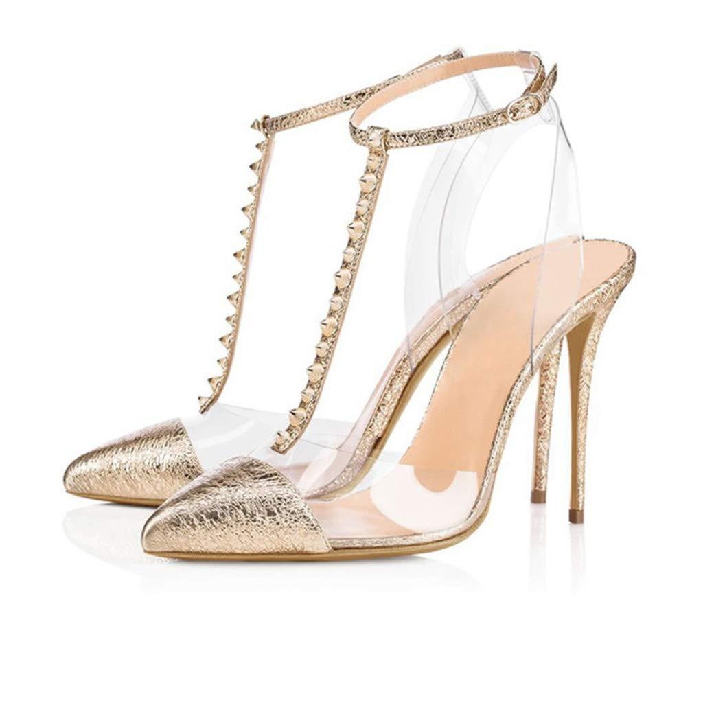 Frauensandalen künstliche PU Spitze Stiletto High Heels offene Zehe transparent Niet einzelne Schuhe Frühjahr und Sommer neu