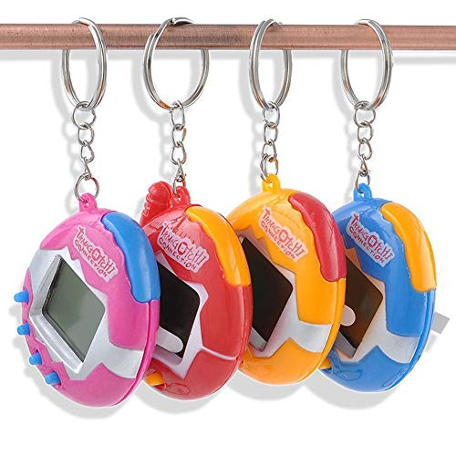 (DierCosy A Pack of pet Toys Funny Retro 49 Pets in a Virtual pet Network Toy Tamagotchi Digital pet Key Ring (2Pcs 1.5V Button Battery) Random Color)