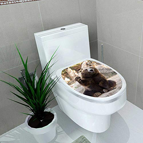 Auraise-home Decoration Bathroom Toilet Cover Sticker Friendly Brown Bear Sitting and Waving a paw in The Zoo for Restroom Wall Decals W12 x L14 (Washington Covers Wall)