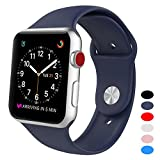 Sport Band for Apple Watch 38mm, BANDEX Soft Silicone Strap Replacement Wristbands for Apple Watch Sport Series 3 Series 2 Series 1(Midnight-blue S/M)