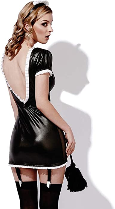 Fever Role-Play French Maid Wet Look Costume Smiffys Fancy Dress Costume