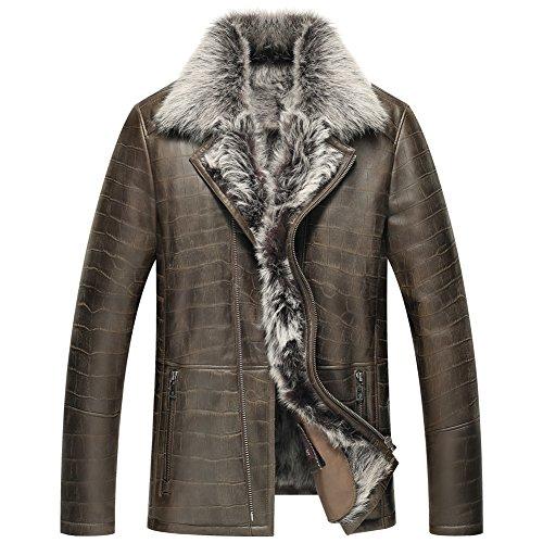 Denny&Dora Mens Shearling Jacket Fur Jacket Turkey Tuscany Wool Champagne Business Coat Lapel Notched Collar Wisdom Man … (Fur Collar Notched Coat)