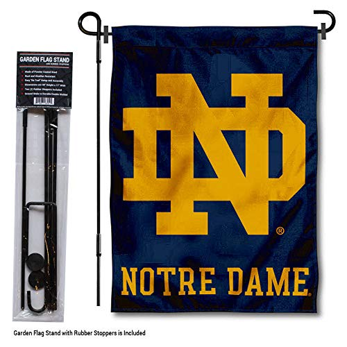 College Flags and Banners Co. Notre Dame Fighting Irish Garden Flag with Stand Holder