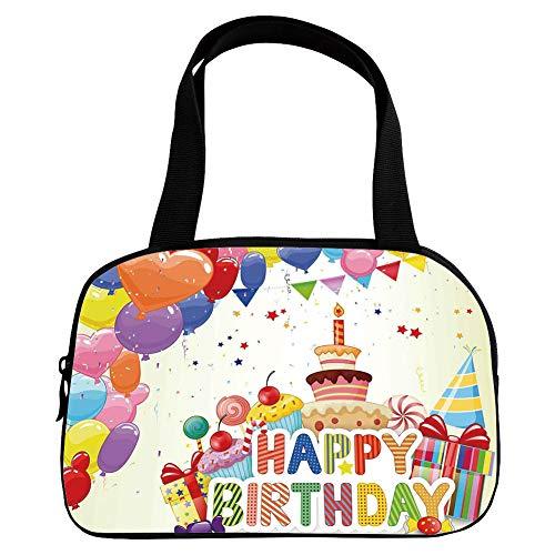 Xoxo Hobo Handbag - iPrint Vogue Small Handbag Pink,Birthday Decorations,Heart Shaped Funny Balloons Cupcakes Candies Presents and Party Hats,Multicolor,for Girls,Diversified Design.6.3