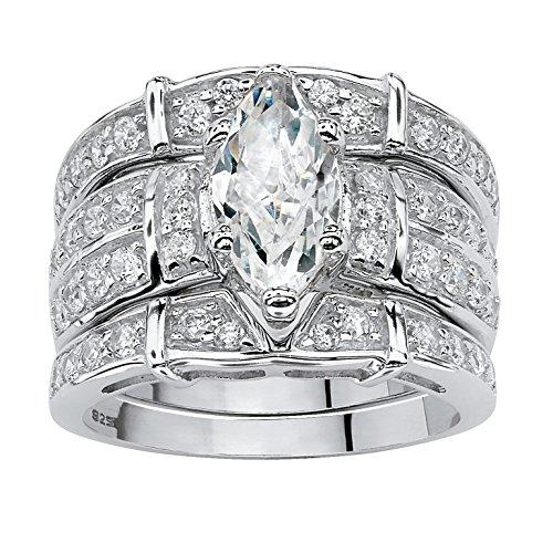 ubic Zirconia .925 Sterling Silver 3-Piece Bridal Set Size 6 ()