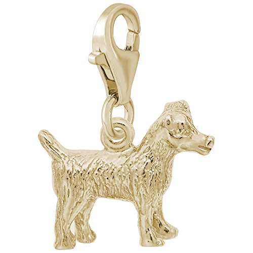 10k Yellow Gold Jack Russell Terrier Charm With Lobster Claw Clasp, Charms for Bracelets and (Jack Russell Terrier Charm)