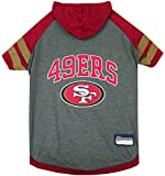 NFL San Francisco 49ers Hoodie for Dogs & Cats. | NFL Football Licensed Dog Hoody Tee Shirt, Medium | Sports Hoody T-Shirt for Pets | Licensed Sporty Dog Shirt