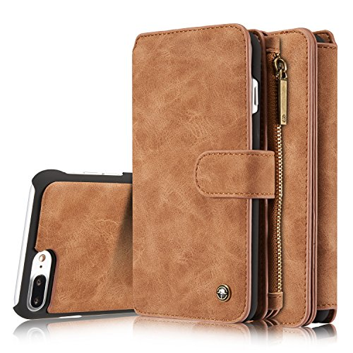 iPhone 8 Plus Case/iPhone 7 Plus Case XRPow Detachable Magnetic Leather Wallet Folio Flip Card Stand Case with Removable Slim Hard PC TPU Back Cover (Case Suede Folio)