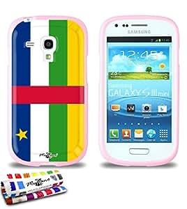 Carcasa Flexible Ultra-Slim SAMSUNG GALAXY S3 MINI ( I8190 ) de exclusivo motivo [Bandera Centro de Africa] [Rosa] de MUZZANO  + ESTILETE y PAÑO MUZZANO REGALADOS - La Protección Antigolpes ULTIMA, ELEGANTE Y DURADERA para su SAMSUNG GALAXY S3 MINI ( I8190 )