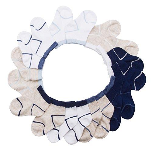 Barehugs Infant Boys 10 Pk All Weather Athletic Socks Dark Blue/White/Tan Brown 6-12 - Brown Tube Round