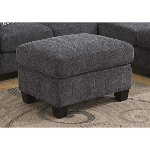Emerald Home Clayton II Charcoal Ottoman with Fixed Cushion And Block Feet