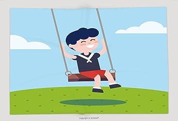 Superweicher Fleece überwurf Decke Boy Swinging An Einem Seil