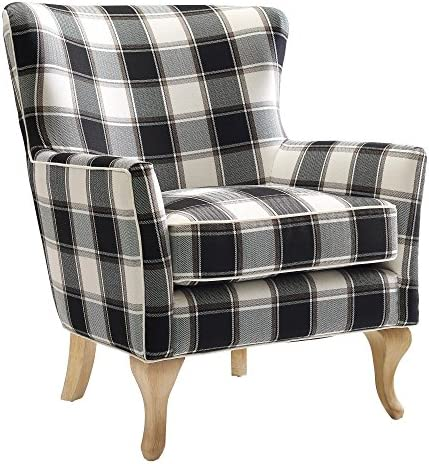 FlexLiving Black White Checkered Pattern Accent Chair