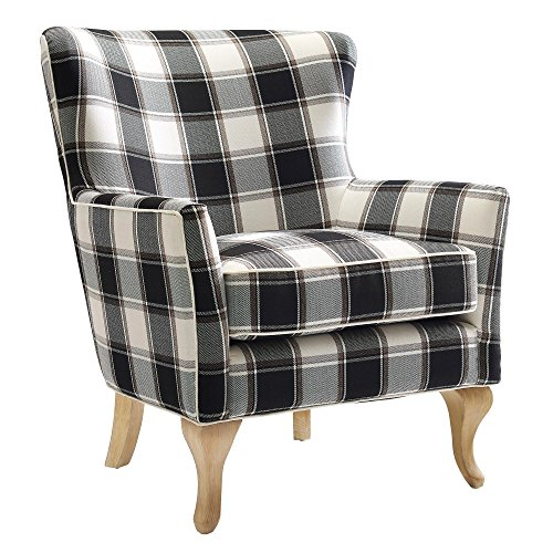 Plaid Chair Cottage - Dorel Living Middlebury Checkered Pattern Accent Chair, Black & White Checkered