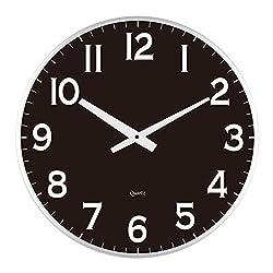 LuLu Decor, 18 Slim Wall Clock, round modern sleek design only 0.75 inches thick, Silent Movement (Slim) (Black)